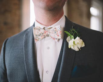 Cream Floral Bow Tie - Mens Freestyle Bow Tie - Flower Bow Tie - Vintage Bow Tie - Pink and Blue Wedding Bow Tie