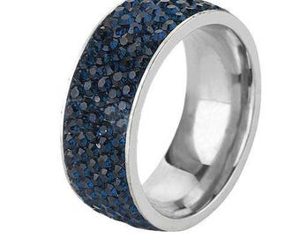 Sapphire Blue Crystal CZ Band Ring