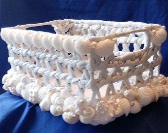 White Wicker Basket With Shells - Wedding Amenities Basket - Beach Wedding Basket (SB003)