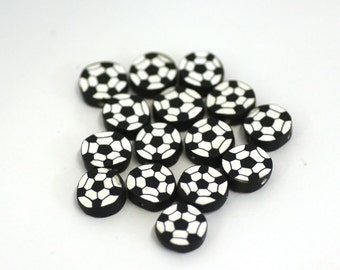 Soccer Ball Beads, Polymer Clay Beads, Sports Beads, Football Cane Slices, 15 Pieces