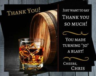 Mens Liquor Thank You Card / Mens Birthday / 40 / 50 / Mens / Thank You Card / Wine Barrel Thank You / Scotch / Liquor / Adult Thank You