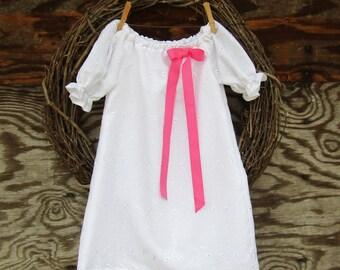 Girls White Dress, White Eyelet Dress, Flower Girl Dress, Girls Party Dress, Baptism Dress, Easter Dress