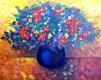 "Nursery art. Flower painting.Kids room decor,home decor.""Autumn flowers"".Original textured  artwork Size 11.81x15.74 inch (30x40 cm)"