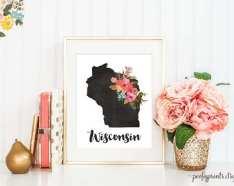 Chalkboard Wisconsin Print / Watercolor Floral Wisconsin Digital Art / Home Sweet Wisconsin Print / Home is Where the Heart Is // 307