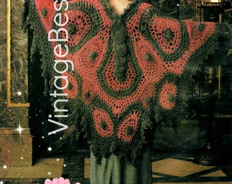 Instant Download • CROCHET Pattern • Vintage 1970s • Big Butterfly Shawl Crochet Pattern • Printable • Pdf Pattern • Digital Download