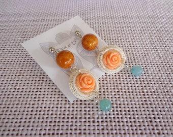 Handcrafted Earrings. Crochet, plastic flower, gem stones Vintage look.