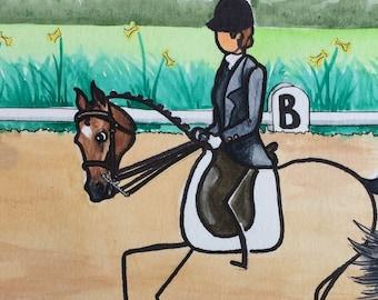 STICK horses by Ellen Sallas Dressage Canter ORIGINAL 8x10
