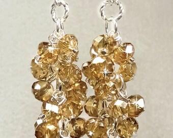 Crystal Bridesmaid Earrings, Champagne Swarovski Crystal Bridal Earrings, Elegant Wedding Jewelry - Aveta (WE109)