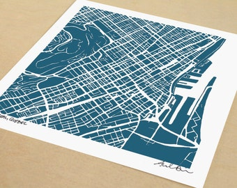 Montreal Map, Hand-Drawn Map Print of Montreal Quebec