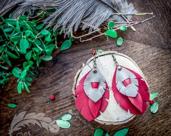 Garnet Red and Gray  Earrings  Feather Earrings Leather Feather Long Earrings Boho Earrings Boho Jewelry Handmade Leather Jewelry FD0011
