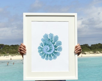 Siphonophara- Wall decor Poster A3 Plus size- sea life POSTER- Natural mandala illustration  - sea life A3 Poster SAS068A3P