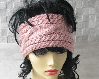 Blush Pink  Headband, Dreadlock Hat, Cabled Hippie Headwrap Knit Pastel Pink Head Wrap Dreads Hair Accessory
