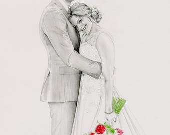 Portrait Drawing Hand Drawn Custom Portrait Drawing Illustration from you Photo Wedding Portrait One of a Kind Custom Couples Portrait Art