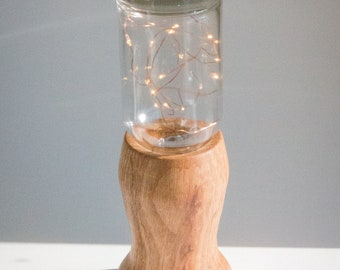 Liquor Bottle Lamp with Wood Base