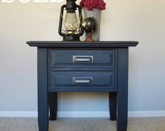 SOLD! Graphite End Table, Dark grey end table, Night stand, Nightstand, Media console, Shabby chic, Painted furniture, Living room