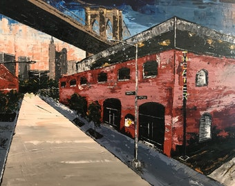 Acrylic palette knife painting,  St. Anns Warehouse Theater - Brooklyn
