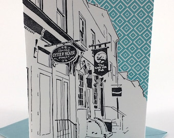 Baltimore Letterpress Card   Thames Street  gray & teal single blank card with envelope