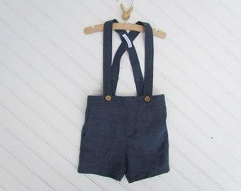 Les garçons Suspender Shorts Shorts - Short en lin enfant tenue de mariage - Page garçon tenue - Short marron - bleu - gris Shorts