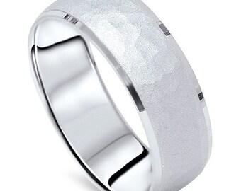Mens 950 Platinum 7MM Hammered Wedding Ring Band New, Platinum, Mens Wedding Band, Gifts For Him, Hammered Band, Anniversary Band, Mens Band