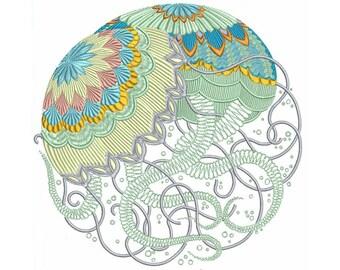 Bohemian Sea JellyFish Machine Embroidery Nautical Design Pattern Instant Download ZIP - 2 sizes