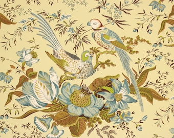 1970s Vintage Novelty Wallpaper Green Blue Tropical Birds on Yellow by the Yard