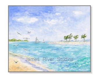 Beach Painting Beach Art Print. Tropical Beach Watercolor Painting Ocean Painting Seashore Art Tropical Island Art Seabird Sailing Art Print