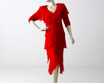 1970s Holly Harp dress, vintage designer red ruffle tiered dress