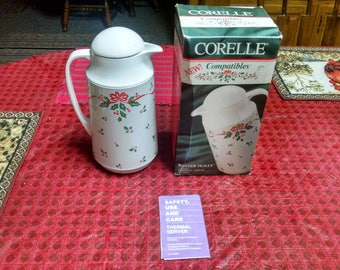 corning corelle compatibles winter holly 1 qt thermal server in box