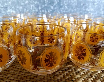 Yellow And Gold Roly Poly Glasses, 2 Sets of 8, Low Ball/Whiskey Glasses, Hand Blown Federal Glass Company 1950s, Mid Century Barware