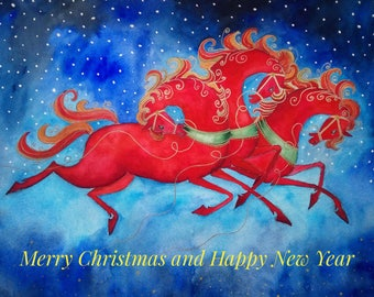 digital postcard Merry Christmas and happy New Year