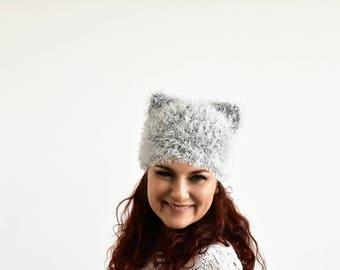 Grey pussycat hat, fur pussy cat hat, cat ear hat, cat hat, kitty hat, hat with ears, pussycat beanie, animal hat, pussyhat, women march hat