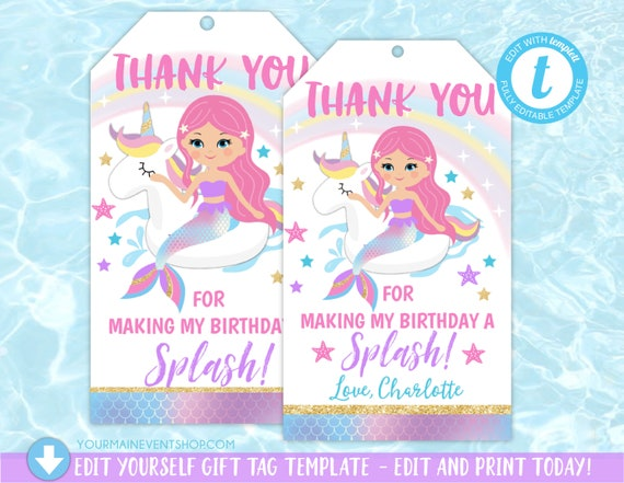 Unicorn Mermaid Pool Party Thank You Tags, Mermaid Party Tags, Pool Party Tags, Favor Tags, Unicorn Float