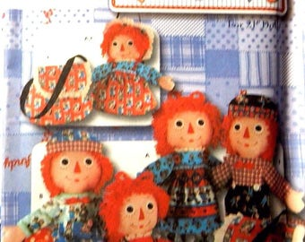 """Simplicity Pattern Uncut 5868 One Size Classic RAGGEDY ANN and ANDY 21"""" Doll, Clothes and tote"""