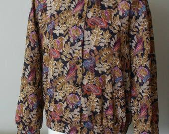 Unique vintage blouse stand collar floral and paisley 1980s Made in Finland