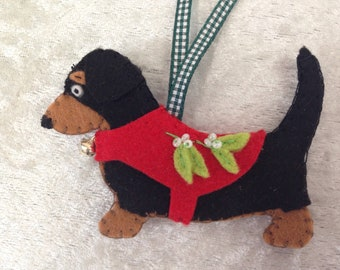 Adorable Black and Tan dachshund Wiener dog decoration, handmade