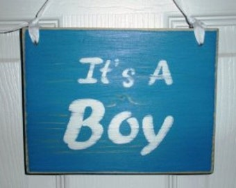 7x5 It's a Boy (Choose Color) Shabby Chic Sign