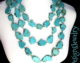 Triple Strand Turquoise Statement Necklace Set - Turquoise Jewelry - Stone Statement Necklace
