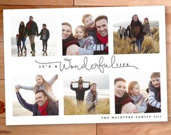 Photo Christmas Card, Wonderful Life, Multiple Photos, Calligraphy, Custom, Modern Photo card, Printable, christmas photo cards