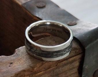 GUSTAV  Men's Wedding Band Cobalt with 3mm Meteorite Inlay | 8mm