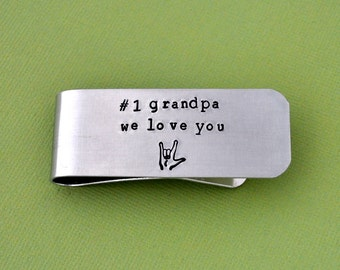 Money clip for father, Money Clip, Gifts for him, Custom Money Clip, Aluminum silver Clip hand stamped Money clip, father gifts, grandfather