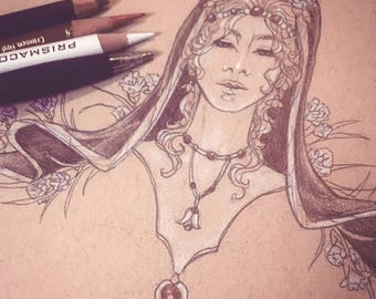 Original Drawing Inktober Ink and Color Pencil Sketch Art Pagan Goddess Persephone with Veil and Flowers Lady of January Birthstone Art