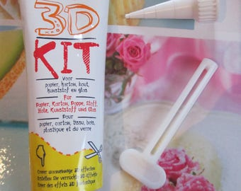Kit glue 3d silicone for glass, cardboard, fabric, plastic 80ml
