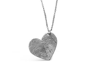Custom Fingerprints Heart Necklace - Personalized Jewelry - Fingerprint Jewelry - Memorial Jewelry - Memorial Gift -Silver Gold Rose Gold
