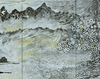 Mountains, Ocean, Dandelions in Stamsund, Lofoten, Norway (Digital Print - Giclee - Mini)