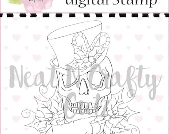 christmas skull  digital Stamp For scrapbooking and paper crafting