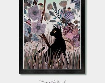 Katze-Druck - Wechselwirkungen. Katze, Katzen, Katze, Kunst, Katzenliebhaber, Katze Geschenk, Boho, Garten, Gartenkunst, Katzendame, Vogelkunst, Seattle, Oregon, Washington