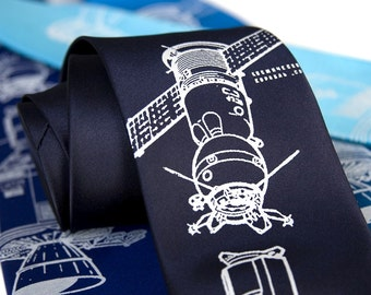 Apollo Soyuz Necktie. Astronaut tie, cosmonaut tie. Space enthusiast gift, rocket scientist. Choose standard or narrow size, tons of colors!