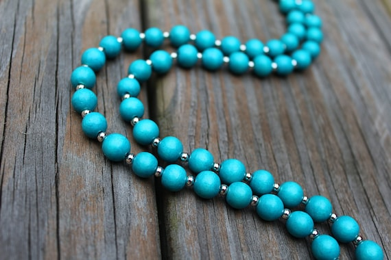 Turquoise & Silver Beaded Necklace, Blue Bead Necklace, Light Wood Bead Jewelry
