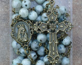 Bronze - Immaculate Heart of Mary - 8mm Dalmation Jasper Gemstone Rosary