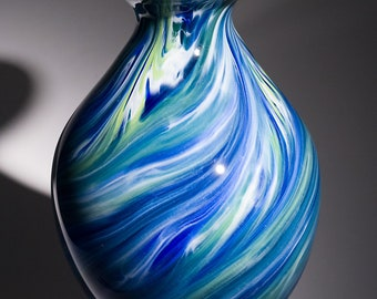 Hand Blown Glass Vase - Curvy Bulbous Shape with Blue and Green Swirls
